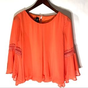 By & By Coral Crochet Bell Sleeve Blouse Sz L